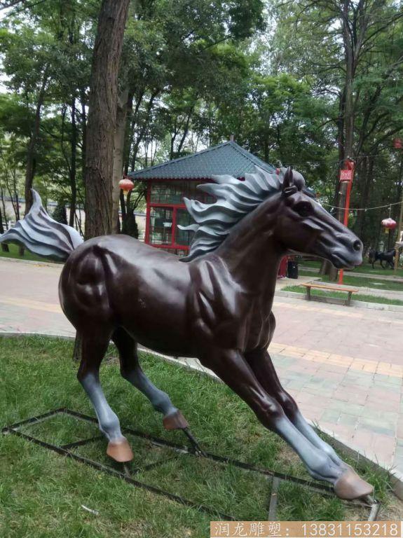 奔马雕塑 玻璃钢仿真马雕塑1