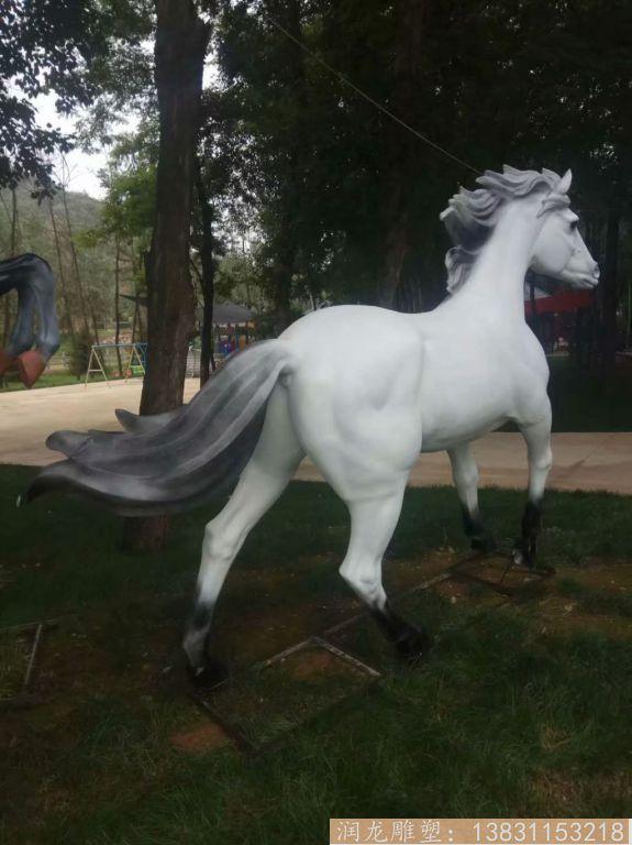 玻璃钢白马雕塑 玻璃钢动物雕塑