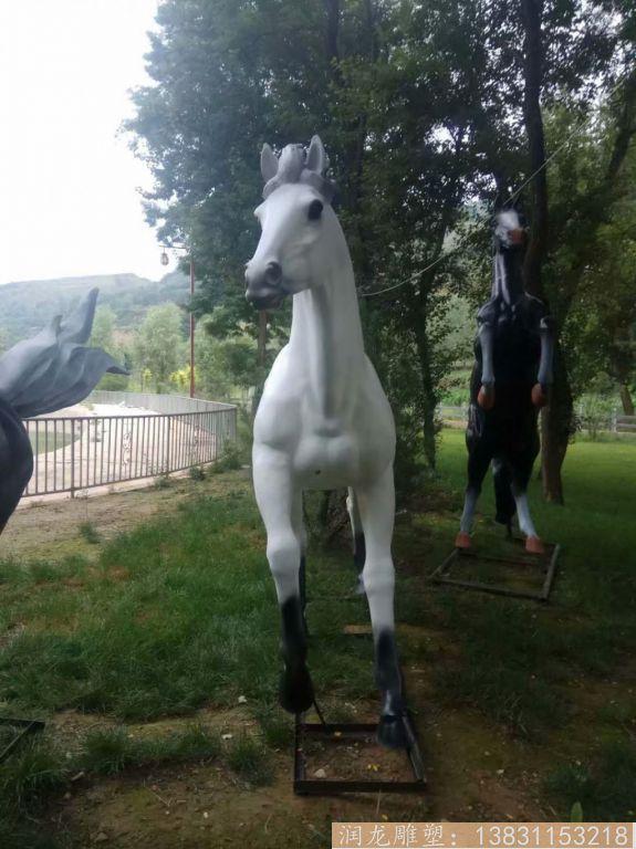 玻璃钢白马雕塑 玻璃钢动物雕塑1