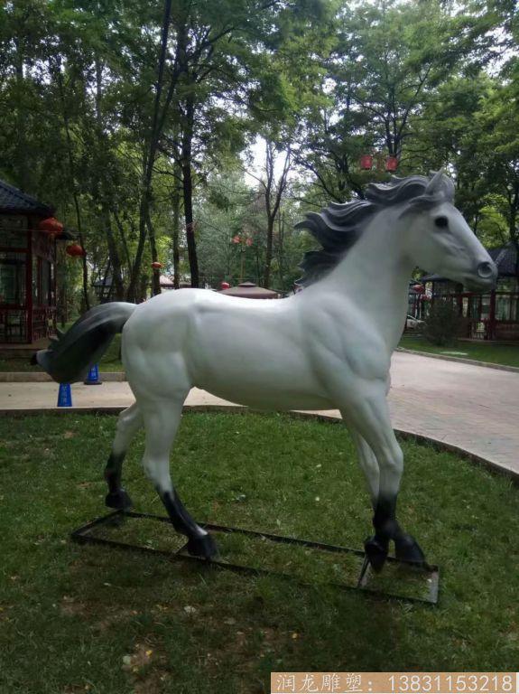 玻璃钢白马雕塑 玻璃钢动物雕塑2