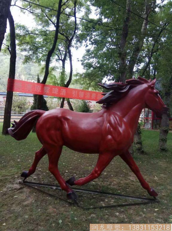 玻璃钢红马雕塑 玻璃钢动物雕塑2
